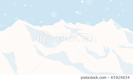 Ice mountain landscape with snowfall 65929834