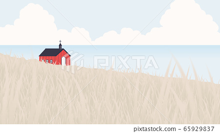 Red church located on seashore and small hill 65929837