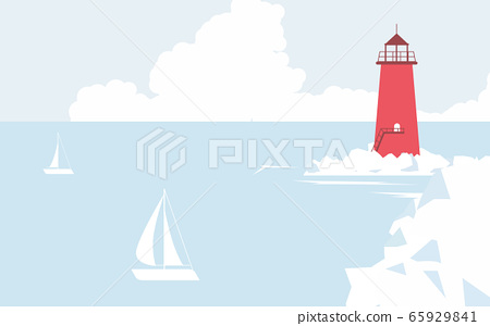 Red lighthouse on the coast and sailboats sailing in the sea 65929841
