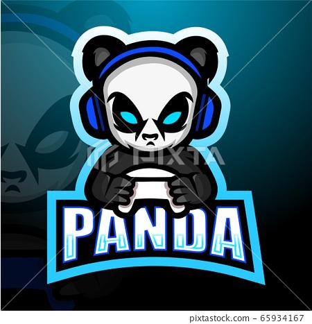 Gamer panda mascot esport logo design 65934167