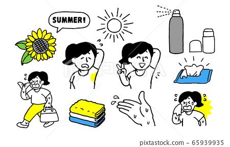 여름 땀으로 고생 사복 여성 세트 (단순 65939935