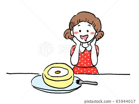 期待卷蛋糕的女孩快餐 65944017
