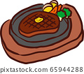 Steak on an iron plate 65944288