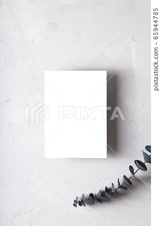 Greeting card mock-up on gray next with 65944785