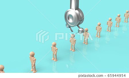 The Crane machine and figure wood toy 3d rendering for employment content. 65944954
