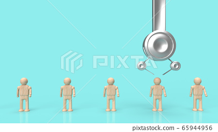 The Crane machine and figure wood toy 3d rendering for employment content. 65944956