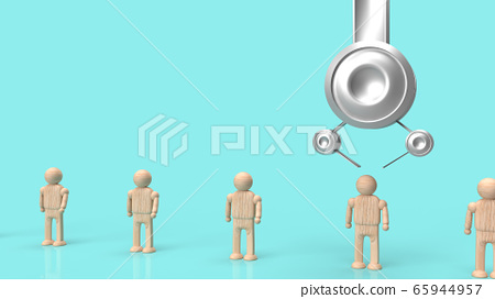 The Crane machine and figure wood toy 3d rendering for employment content. 65944957