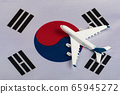 National flag of South Korea and model airplane. 65945272