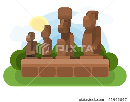 easter island old stone sculptures. multicolored new 65946847