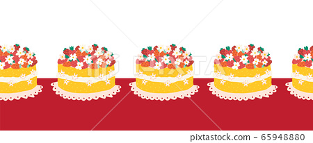 Strawberry cake seamless vector border. Repeating pattern with fruit cake dessert. Use for Party 65948880
