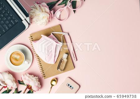 Home office table desk during Coronavirus or Covid-19 quarantine, flat lay 65949738