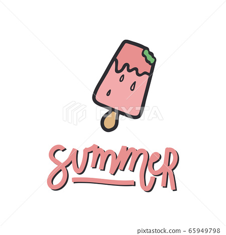 Handwritten lettering with an illustration. Illustration of ice cream on a stick with the inscription summer. Perfect for a poster or t-shirt design. The mood is summer. 65949798