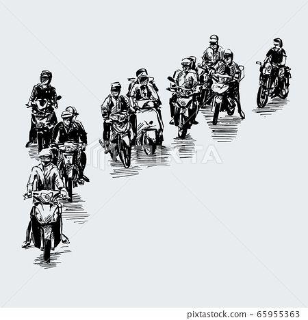 Drawing of the motorcycles struck at traffic light in Vietnam  65955363
