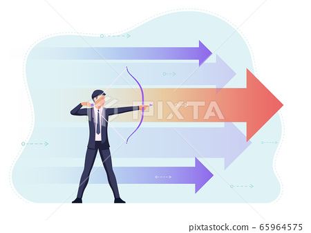 Businessman aiming the target with bow and arrow 65964575