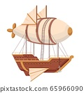 Flying ship airship. Futuristic ship with wings and balloon in technopunk style. 65966090