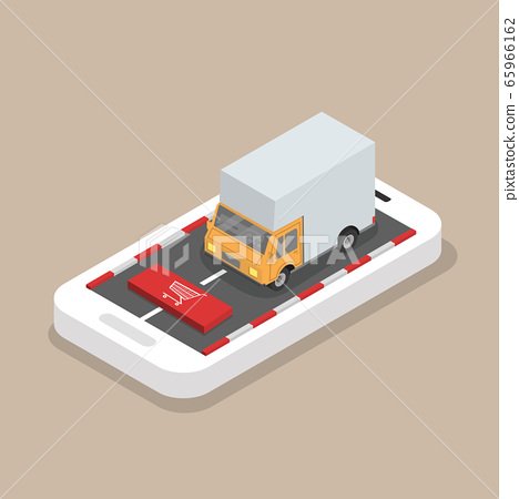 Isometric Yellow cargo truck  on the mobile phone 65966162