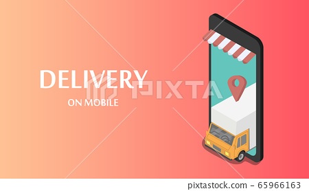 Fast delivery cargo truck on mobile 65966163