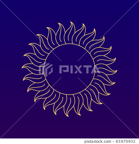 Old fashioned medieval style linear sun vector 65970932