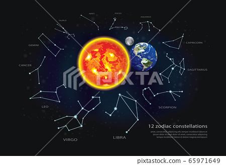 12 zodiac constellationsVector Illustration 65971649