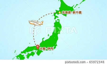 插圖說明簡單的飛機運動(從新千歲到伊丹) 65972348