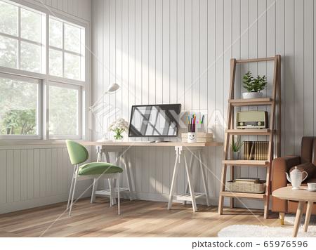 Vintage working and living room 3d render 65976596