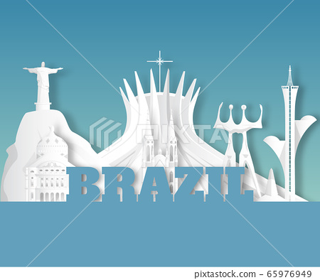 Brazil Landmark Global Travel And Journey paper background. Vector Design Template.used for your advertisement, book, banner, template, travel business or presentation. 65976949