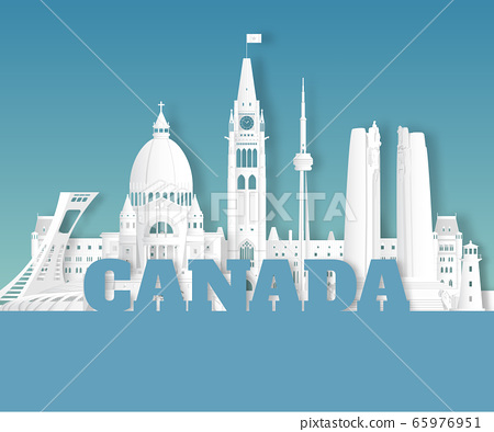 Canada Landmark Global Travel And Journey paper background. Vector Design Template.used for your advertisement, book, banner, template, travel business or presentation. 65976951