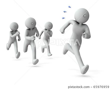 대치하면서 계속 달리는 라이벌 화이트 백 3D 렌더링 65976959