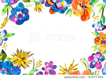 Summer happy colorful watercolor painted paper-cut flowers border frame ornament illustration. A4 A5 A3 international paper slide poster card with free blank copy space for text 65977484