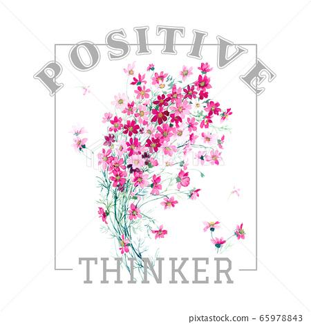 色彩豐富的花卉素材組合和設計元素 65978843