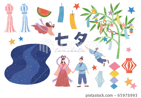 Tanabata set watercolor illustration Orihime Hikoboshi Sasa strips Milky Way watermelon Hoshi 65978993