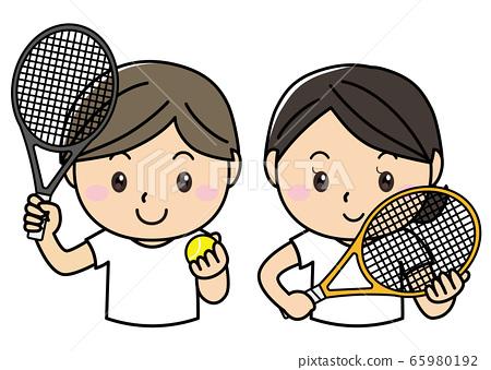 男女01_05(微笑著運動和網球拍的男女) 65980192