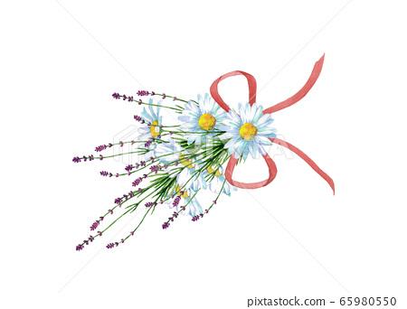 雛菊和薰衣草花束 65980550