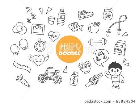 healthy kawaii doodle 65984504