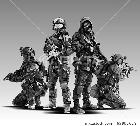 Vector Policeman Tactical Shoot Illustration. 65992628