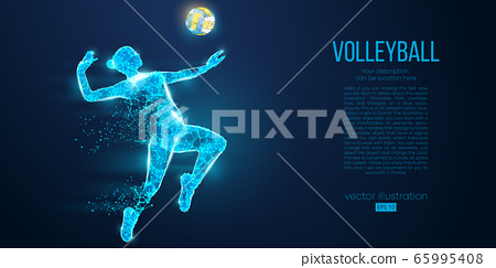 Abstract silhouette of volleyball player woman, girl, female with volleyball ball. All elements on a separate layers color can be changed to any other. Low poly neon wire outline geometric. Vector 65995408