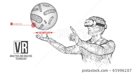 VR wireframe headset vector banner. Polygonal man wearing virtual reality glasses, with holographic of bacteria. Science, diagnostics, virtual analytics, analysis. VR games. Thank you for watching 65996287