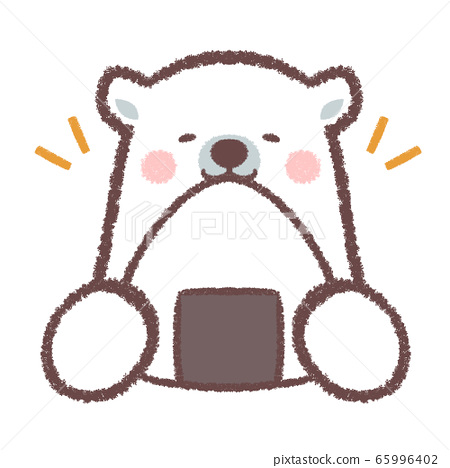 Polar bear big rice ball smile sign 65996402