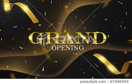 Grand Opening Card with Golden Ribbon Background 65996994