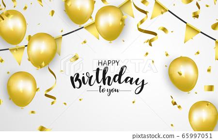 Happy Birthday balloons Gold celebration 65997051