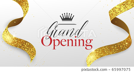 Grand Opening Card with Golden Ribbon Background 65997075