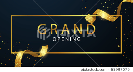 Grand Opening Card with Golden Ribbon Background 65997079