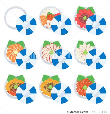 Seafood bowl illustration set 66000450