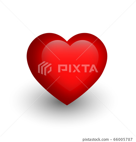 Red heart with glossy effect. A symbol of love and St Valentines Day. 3D vector illustration 66005787