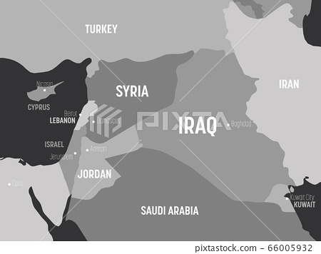 Middle East map - grey colored on dark background. High detailed political map of Middle East and Arabian Peninsula region with country, capital, ocean and sea names labeling 66005932