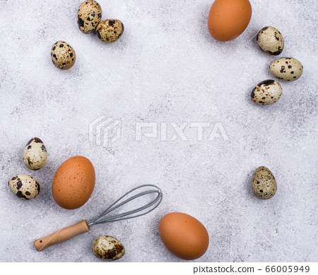 Chicken and quail eggs with whisk 66005949