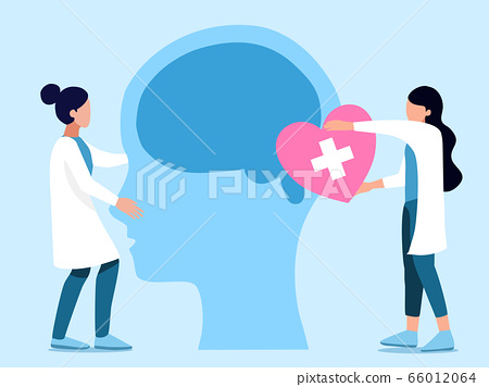 Mental health ,brain development  medical treatment concept, doctors  work together to set up heart to brain of human head, setting  good mindset and attitude on blue   background , vector  illustrati 66012064