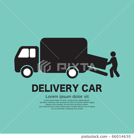 Delivery Person is Carrying the Goods Out of the Delivery Truck Black Icon Symbol Vector Illustration. 66014630