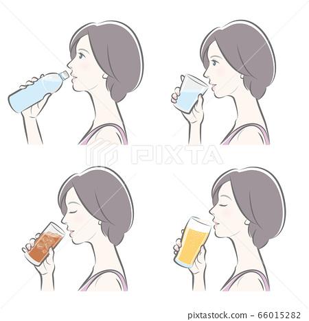 여성의 옆 얼굴, 차가운 음료 66015282