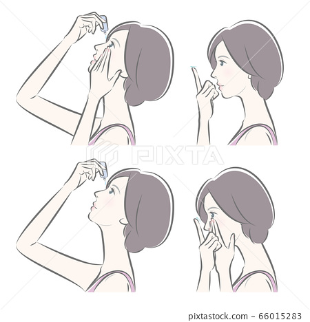 Illustration of a woman taking care of the eyes 66015283